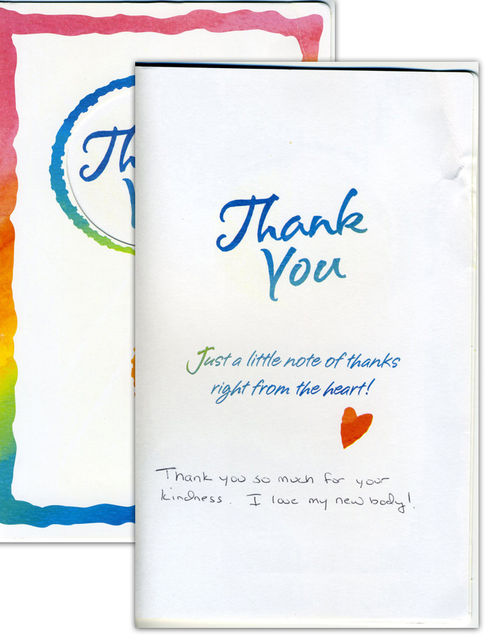 I love my new body! - Thank You Card