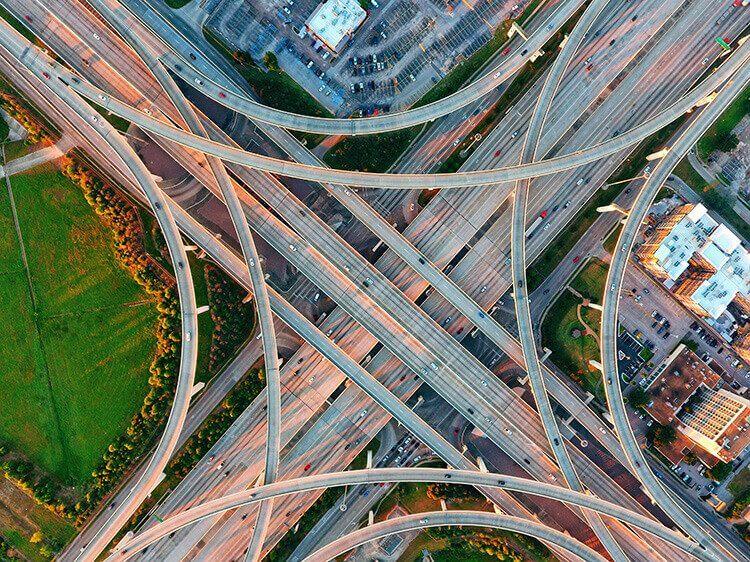 Arial View of Houston Freeway